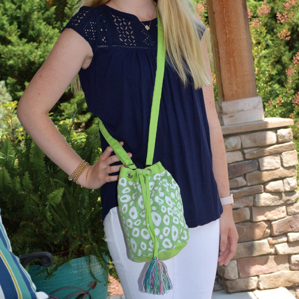 durry green spots drawstring bag