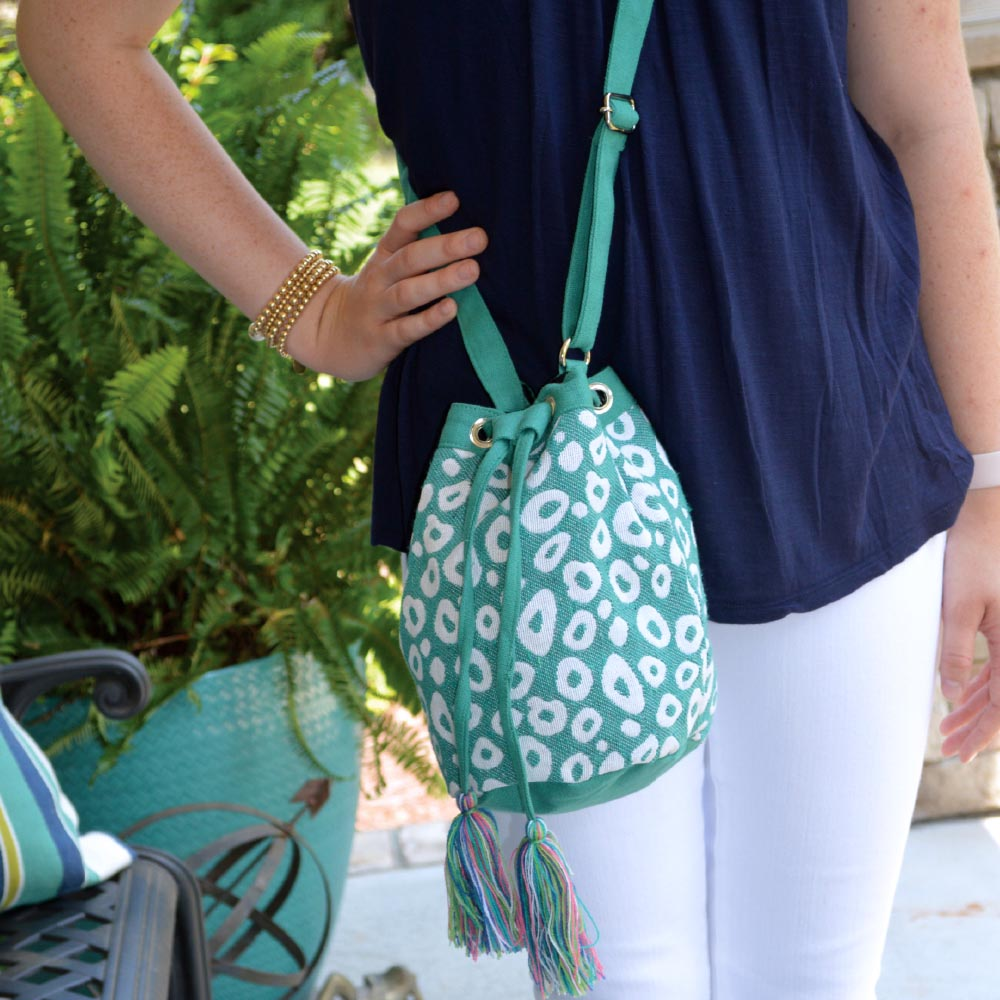 durry teal spots drawstring bag