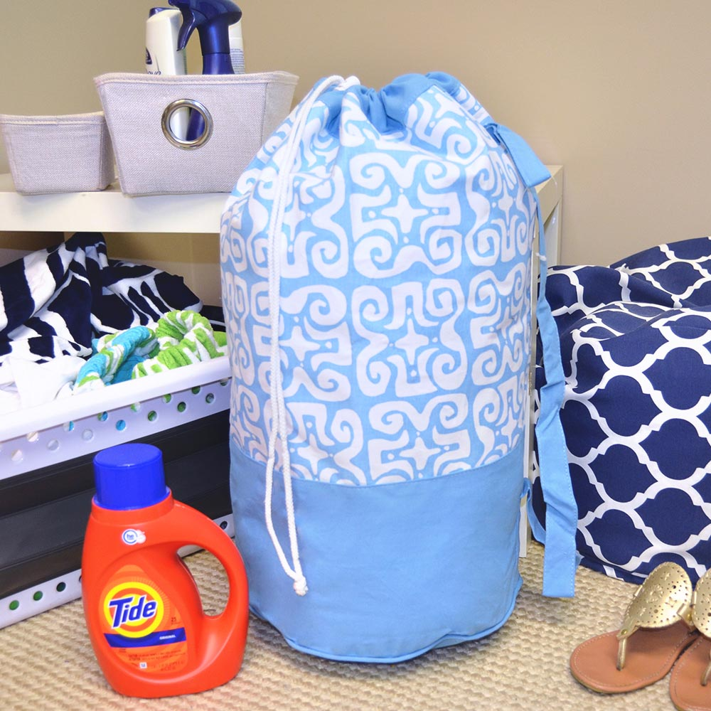 don't fret light blue duffle bag
