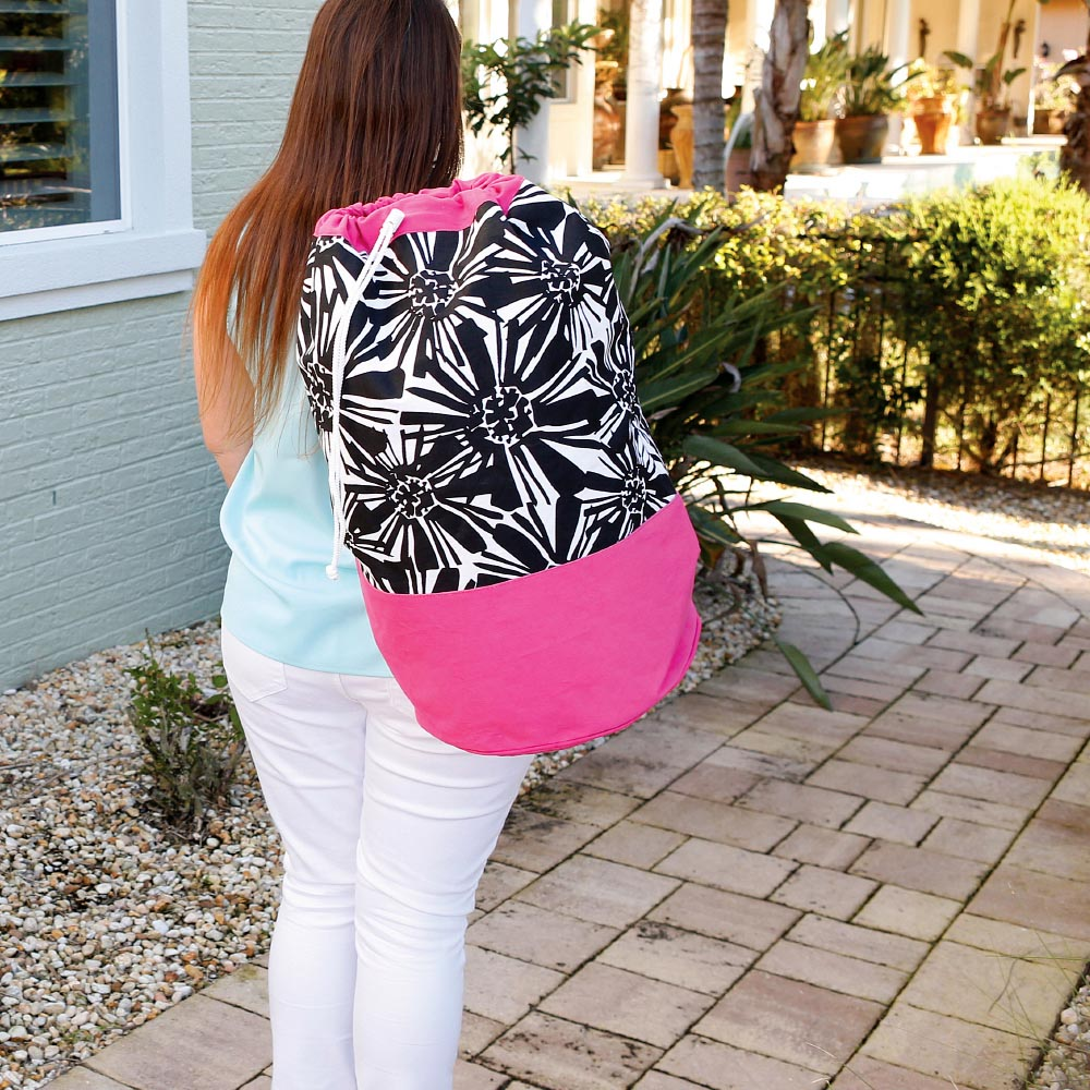 mosaic floral black with pink trim camp duffle bag