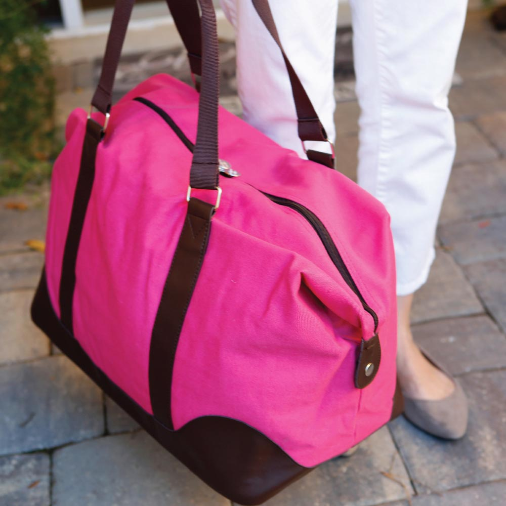 chandler pink/chocolate large duffle