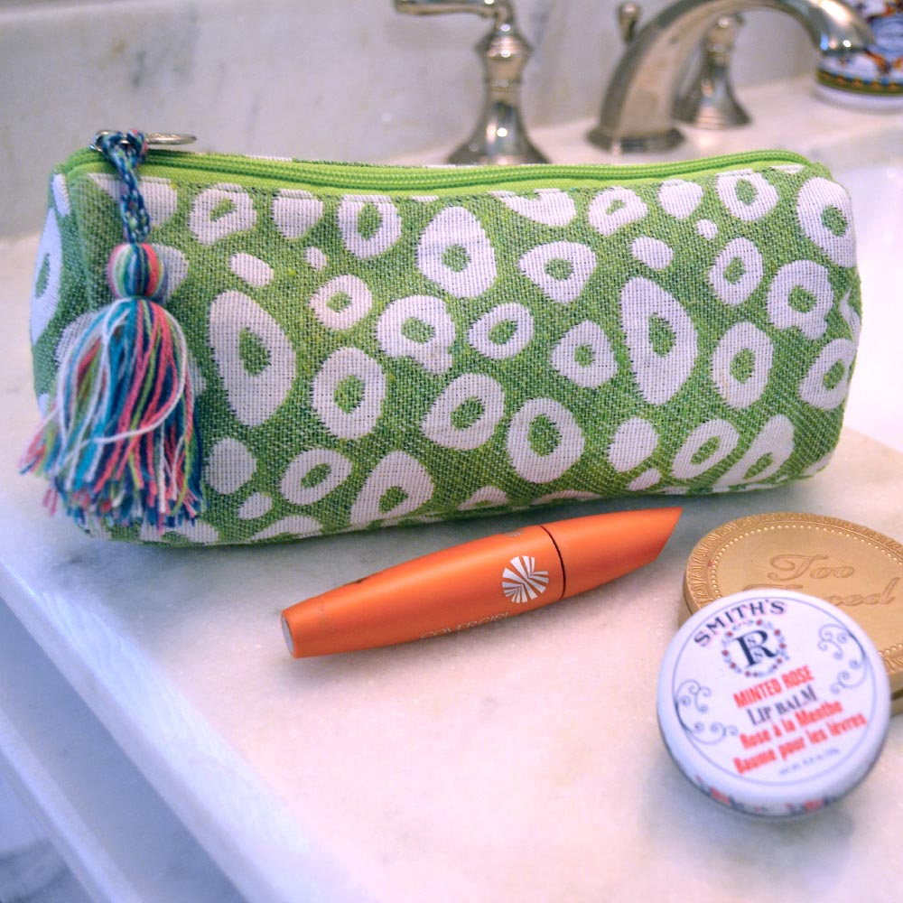 durry green spots long cosmetic bag