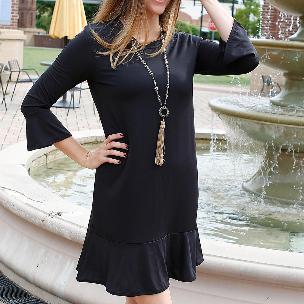 black mandy poly-knit dress
