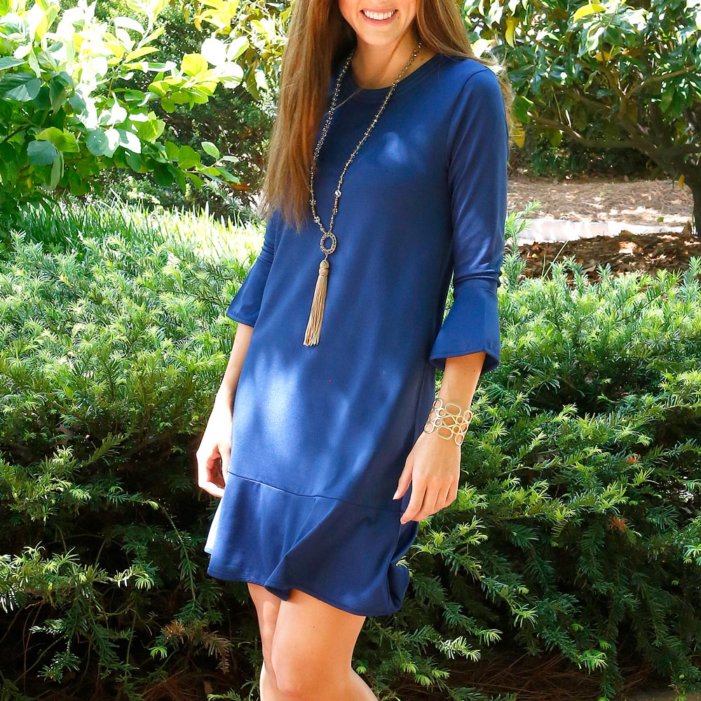 navy peony mandy poly-knit dress