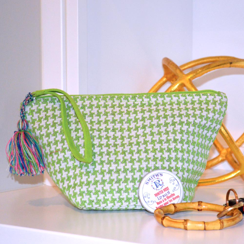 durry green houndstooth zipper bag pouch