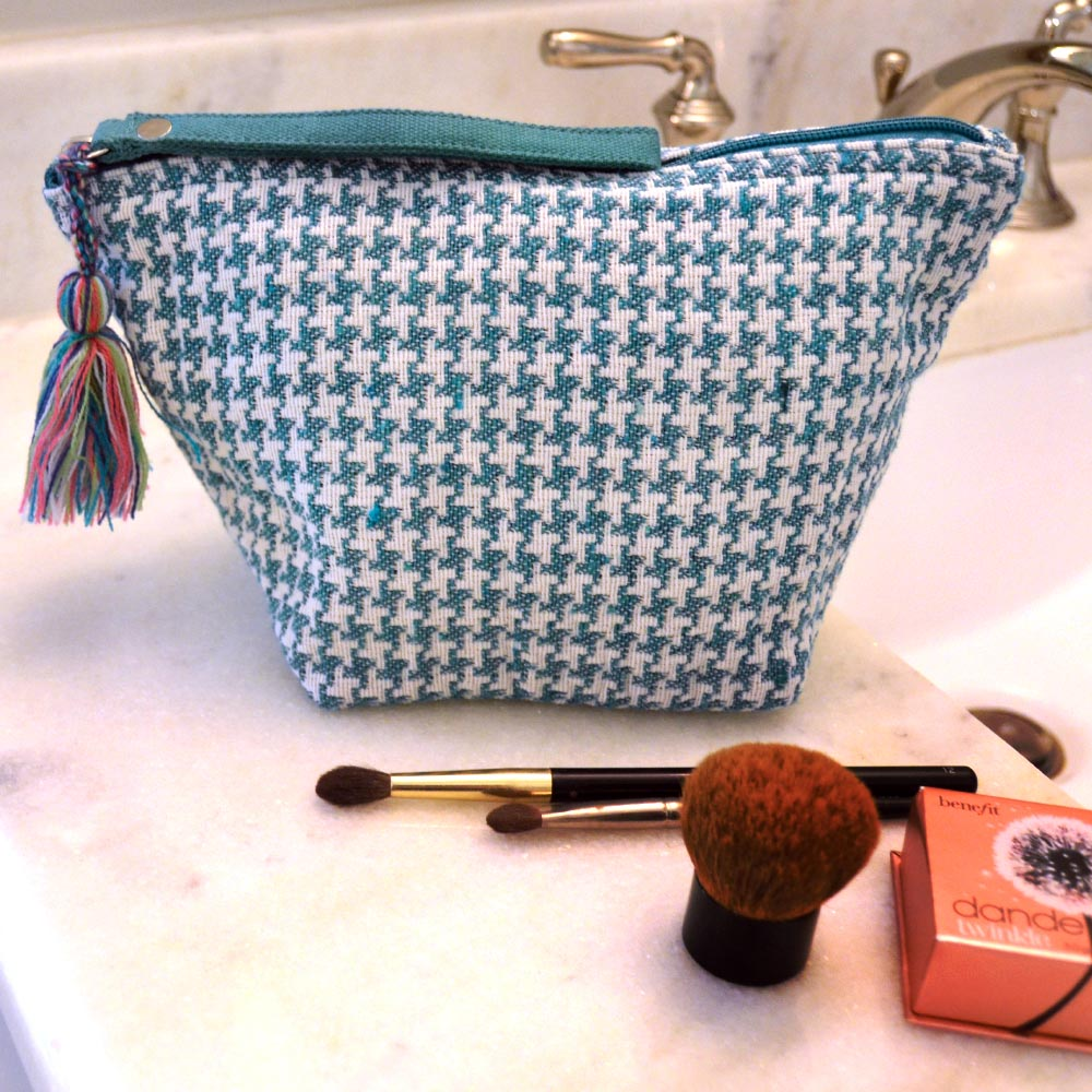durry teal houndstooth zipper bag pouch
