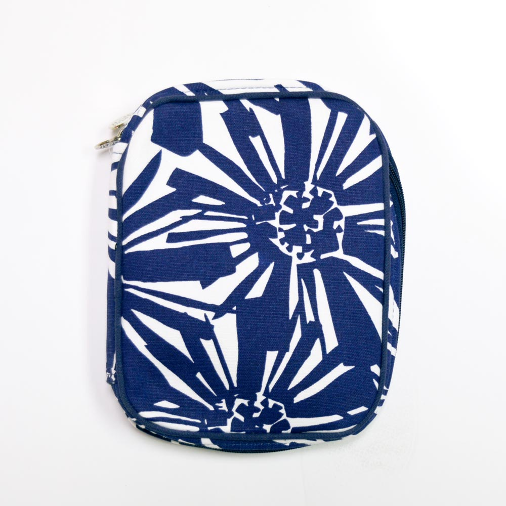 mosaic floral navy electronic cord case