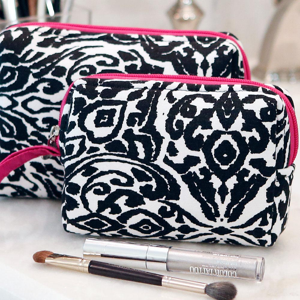 point blank black 2pc EVA cosmetic set w/pink