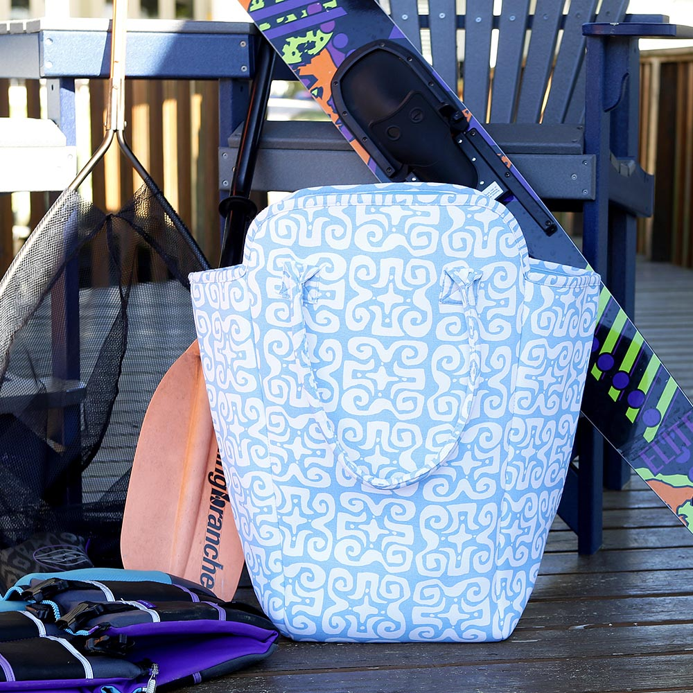 don't fret light blue EVA heavy weight tote