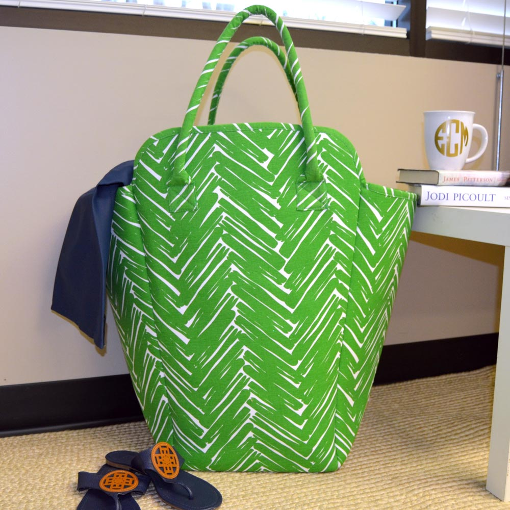 twill do green and white beach and laundry EVA tote