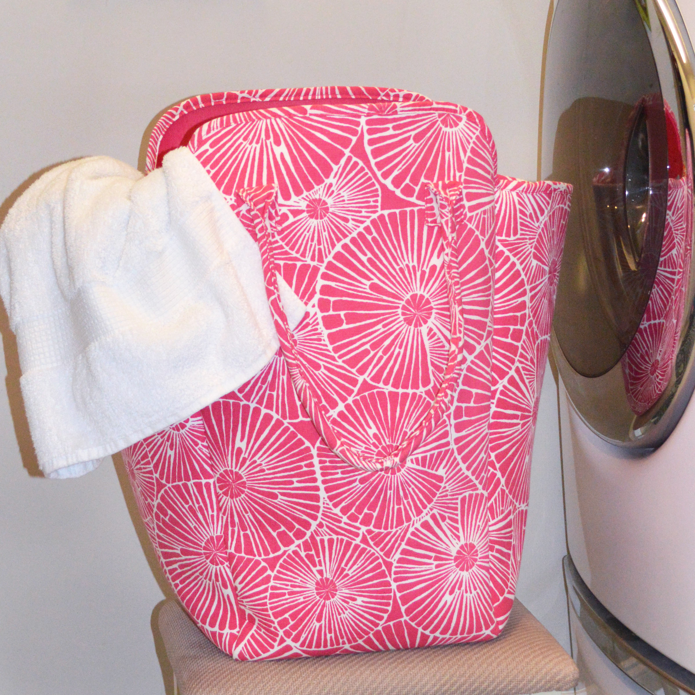 full circle pink beach and laundry EVA tote