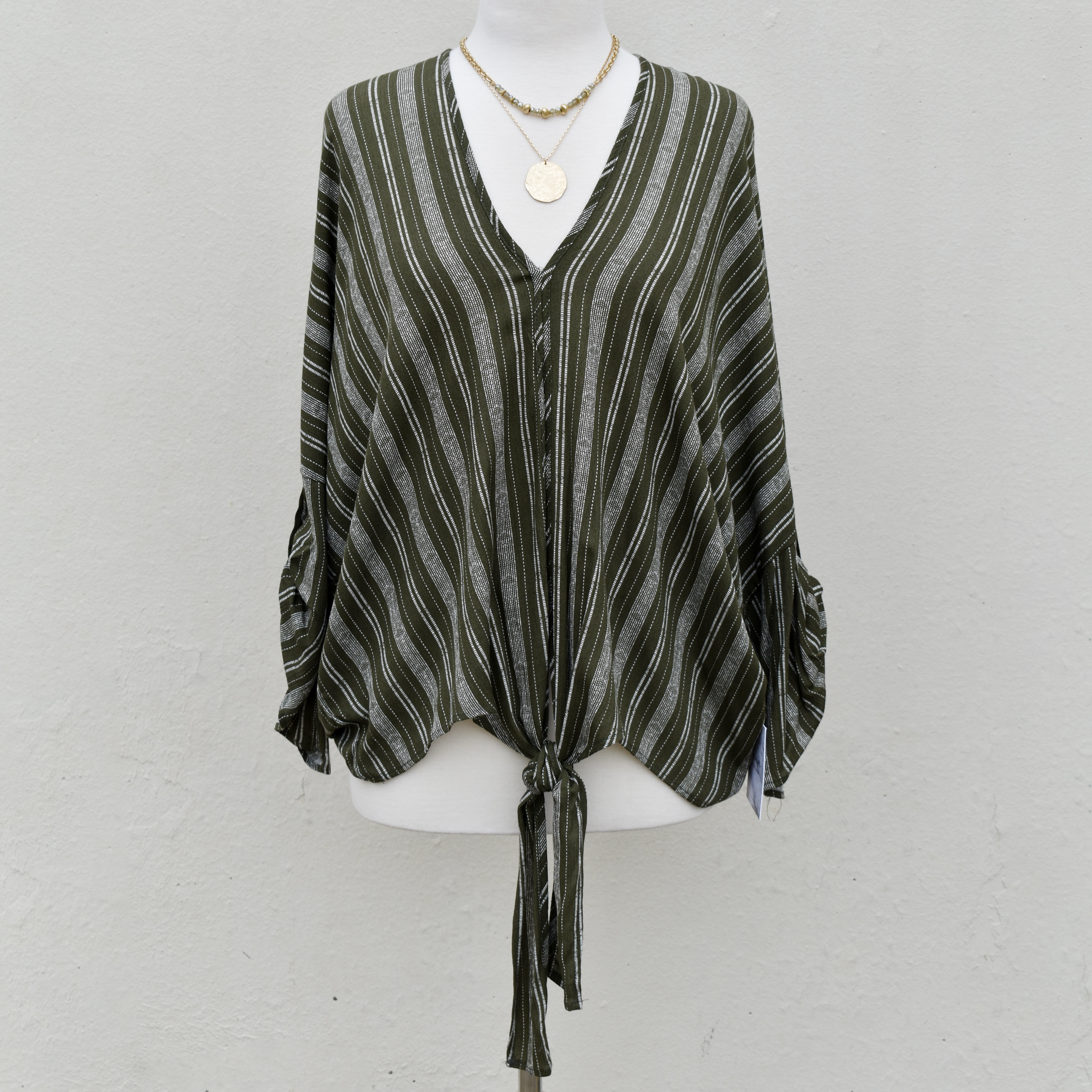 olive stripe top with tie detail
