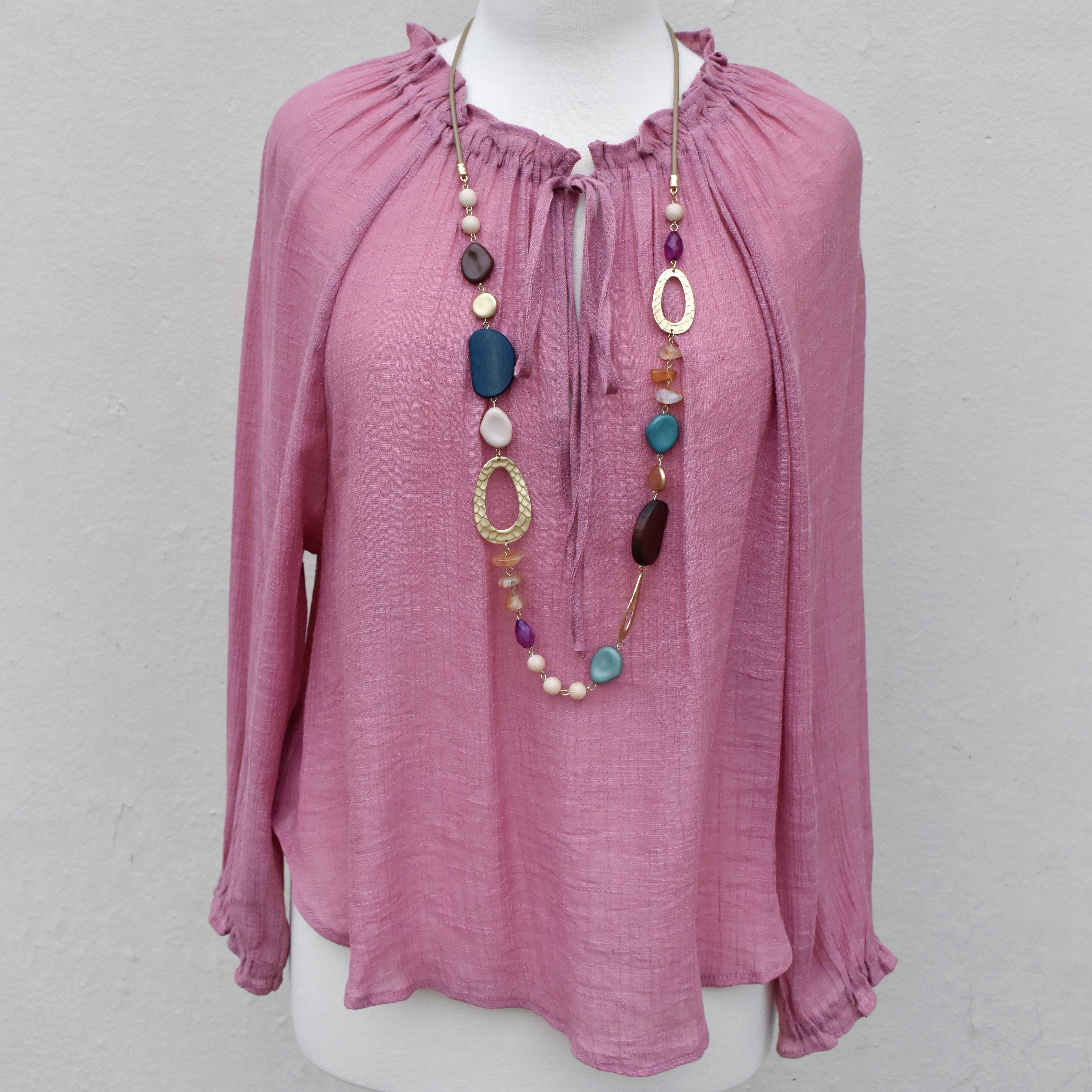 rose top with tie