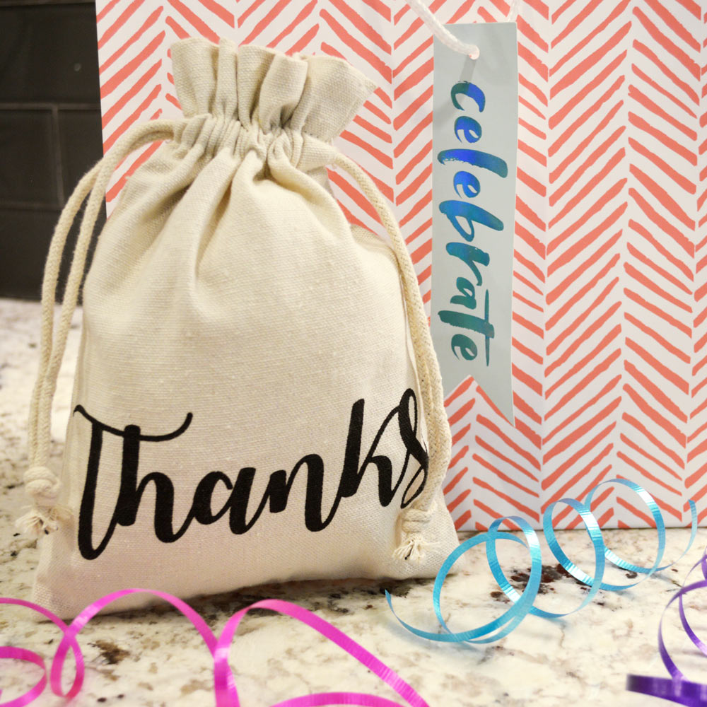gift bag with drawstring thanks