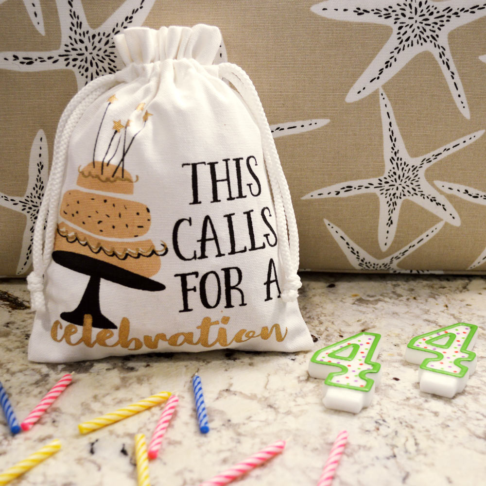gift bag with drawstring calls for celebration