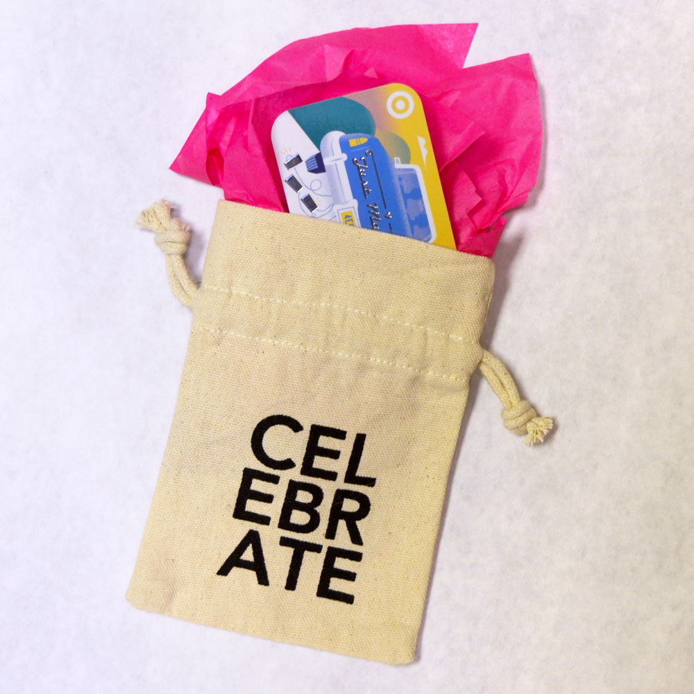 gift card holder with drawstring celebrate
