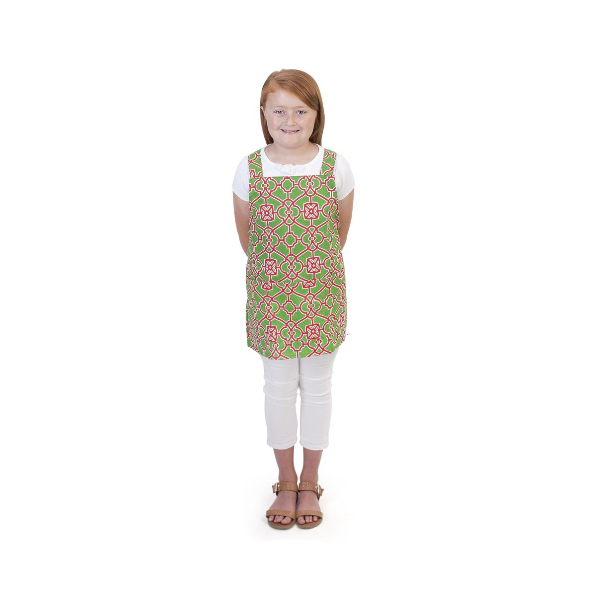 lattice green/red kids apron