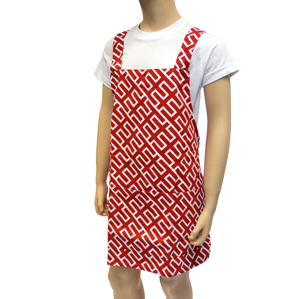 red kids apron