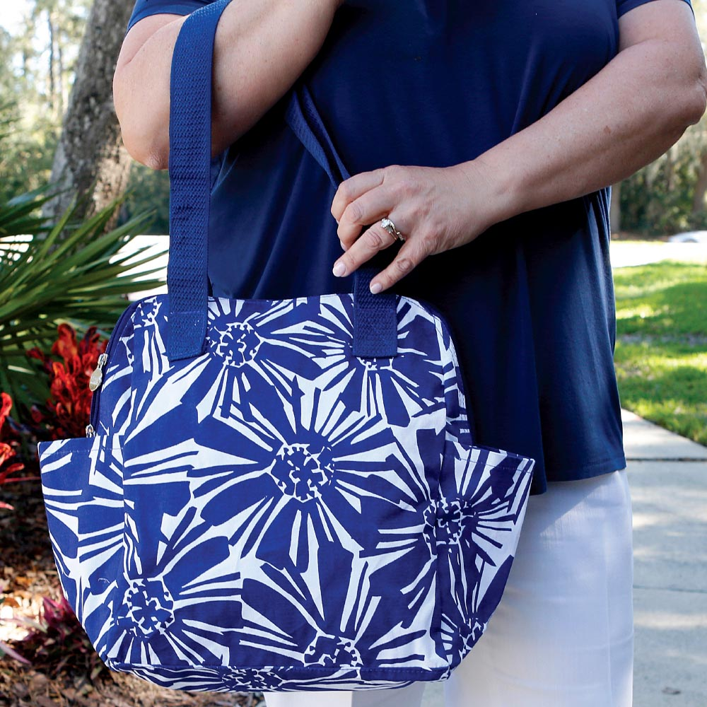 mosaic floral navy high roller bag