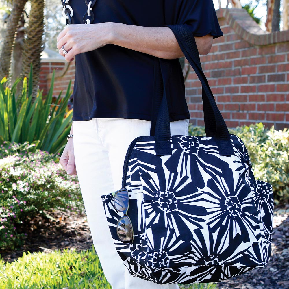 mosaic floral black high roller bag