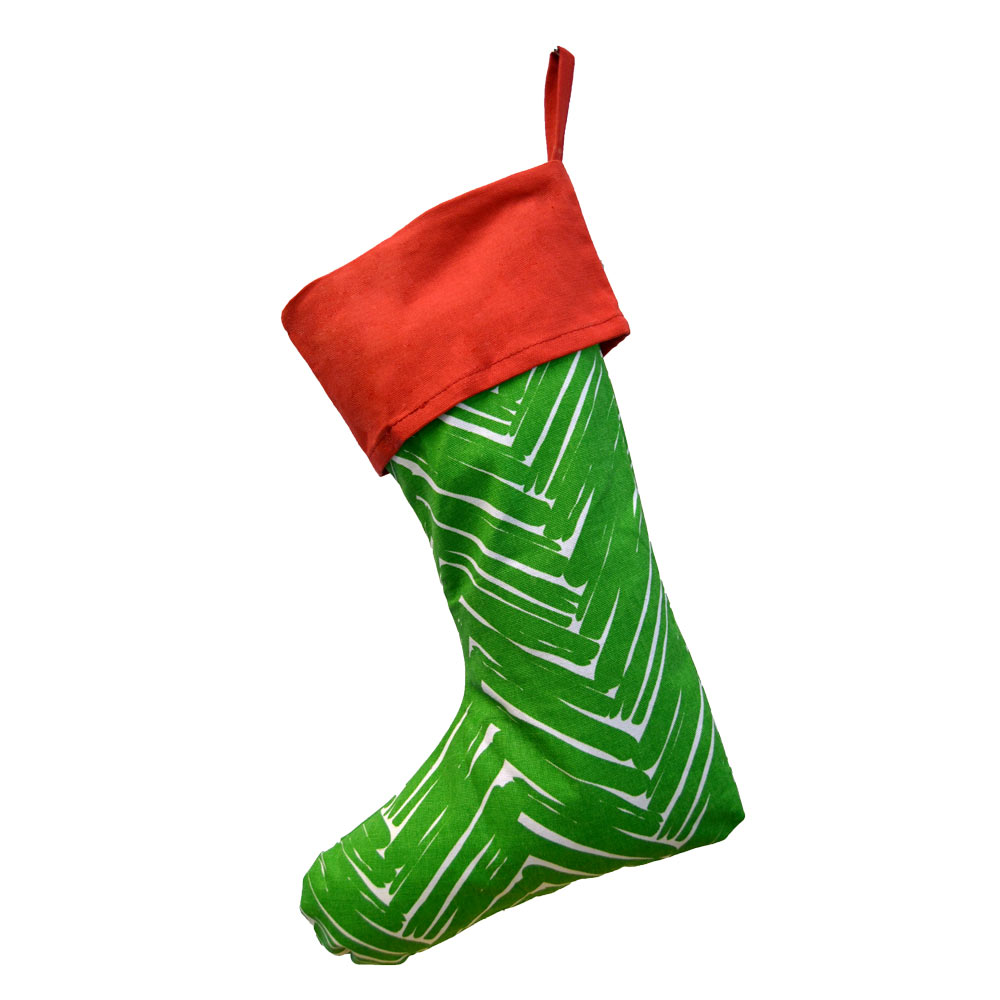 twill do green stocking with red top