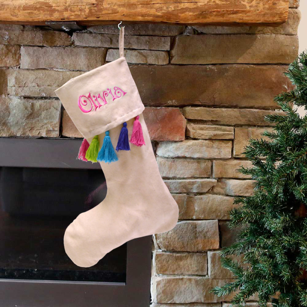 holiday stocking natural with multi colored tassels