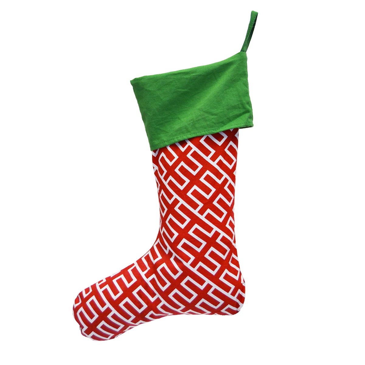 holiday red stocking, green top