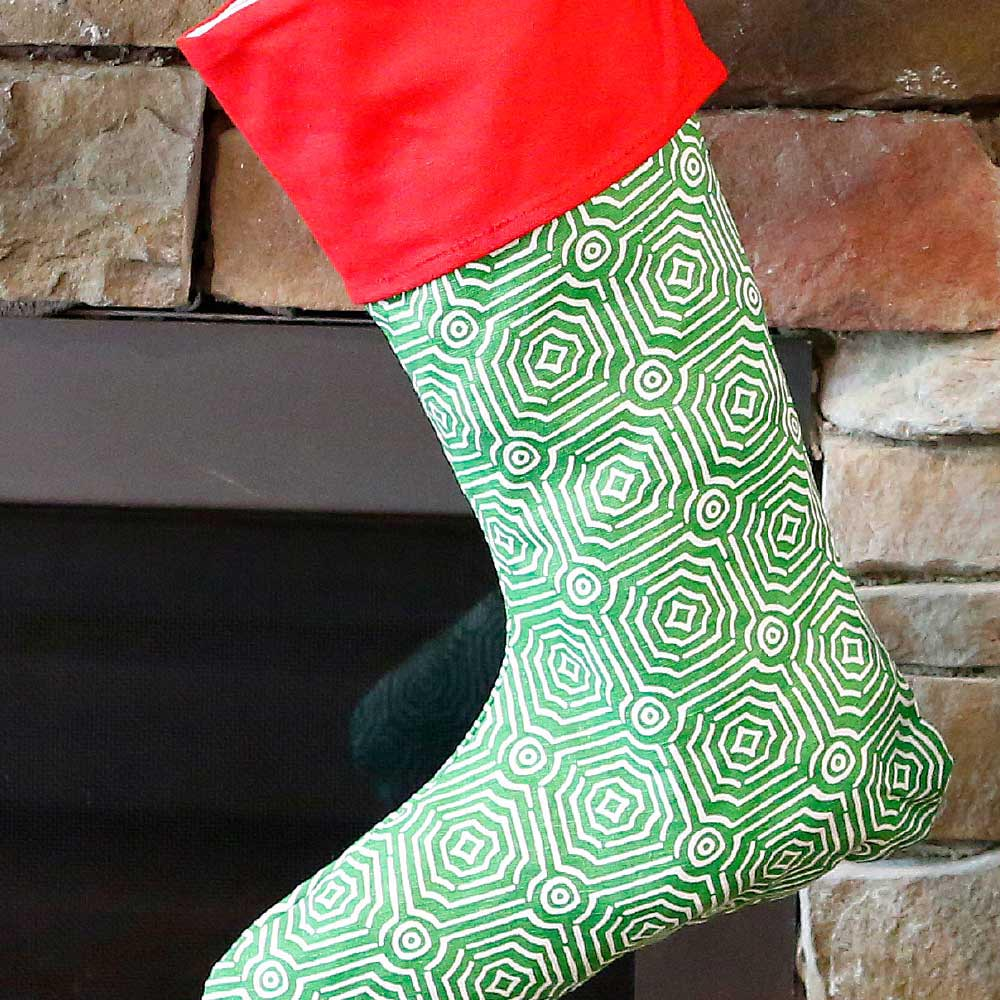 echo green holiday stocking w/red top