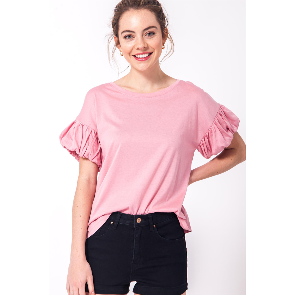 light pink ruffle sleeve top
