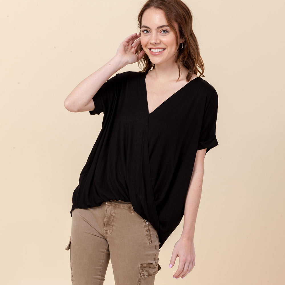 black hi-lo crossover vneck short sleeve top