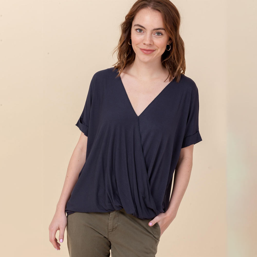 blue night hi-lo crossover vneck short sleeve top