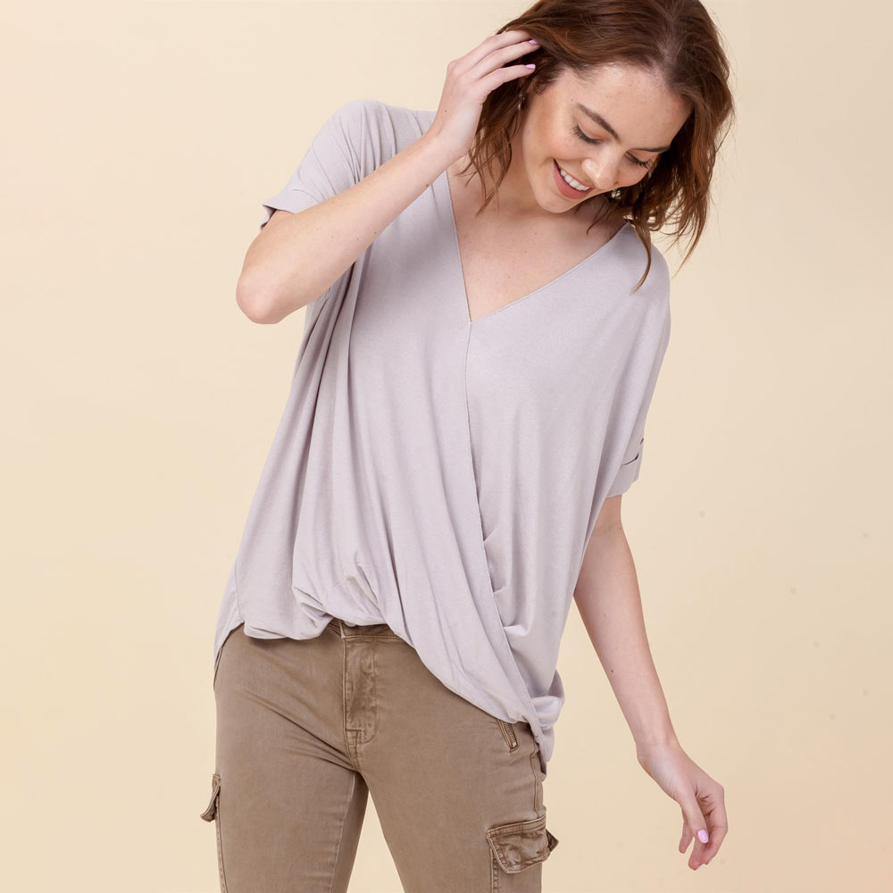 cloud hi-lo crossover vneck short sleeve top