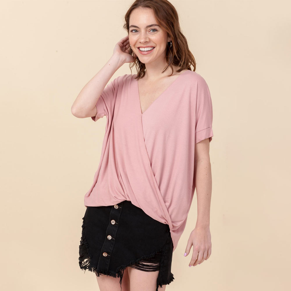 desert rose hi-lo crossover vneck short sleeve top