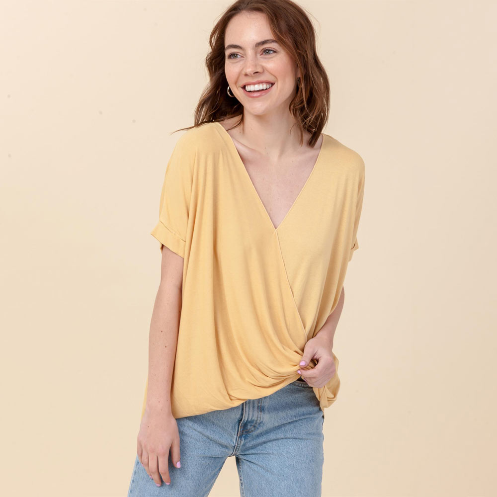 french fry hi-lo crossover vneck short sleeve top