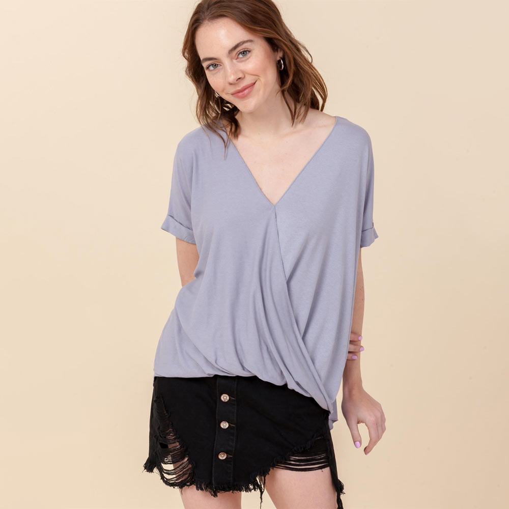 gray lilac hi-lo crossover vneck short sleeve top