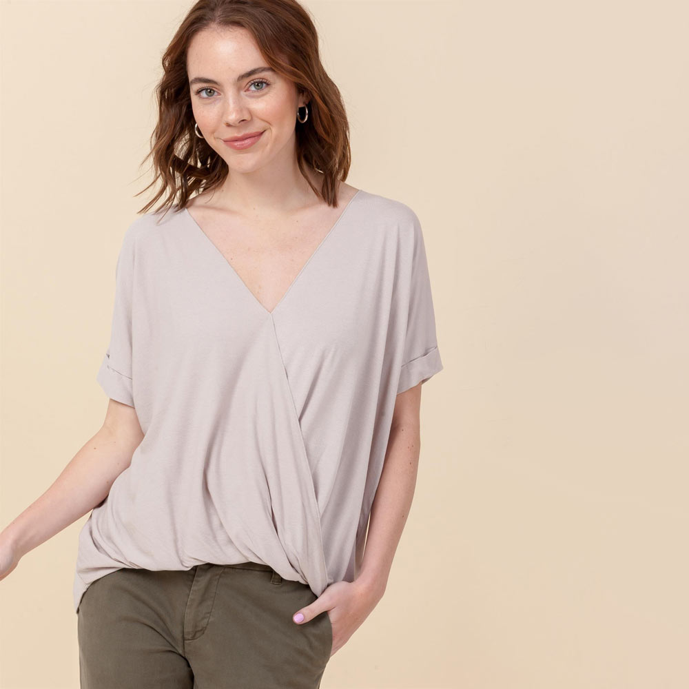 moth gray hi-lo crossover vneck short sleeve top