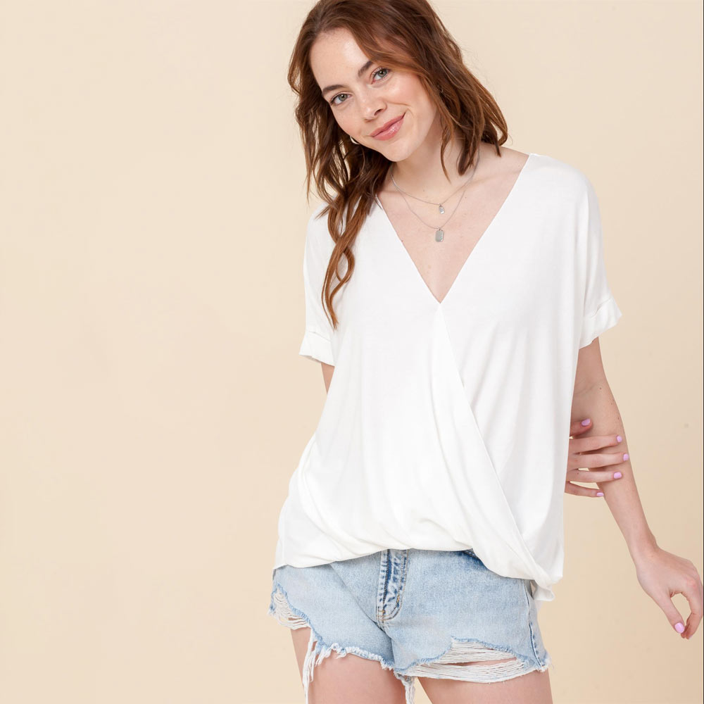 off white hi-lo crossover vneck short sleeve top