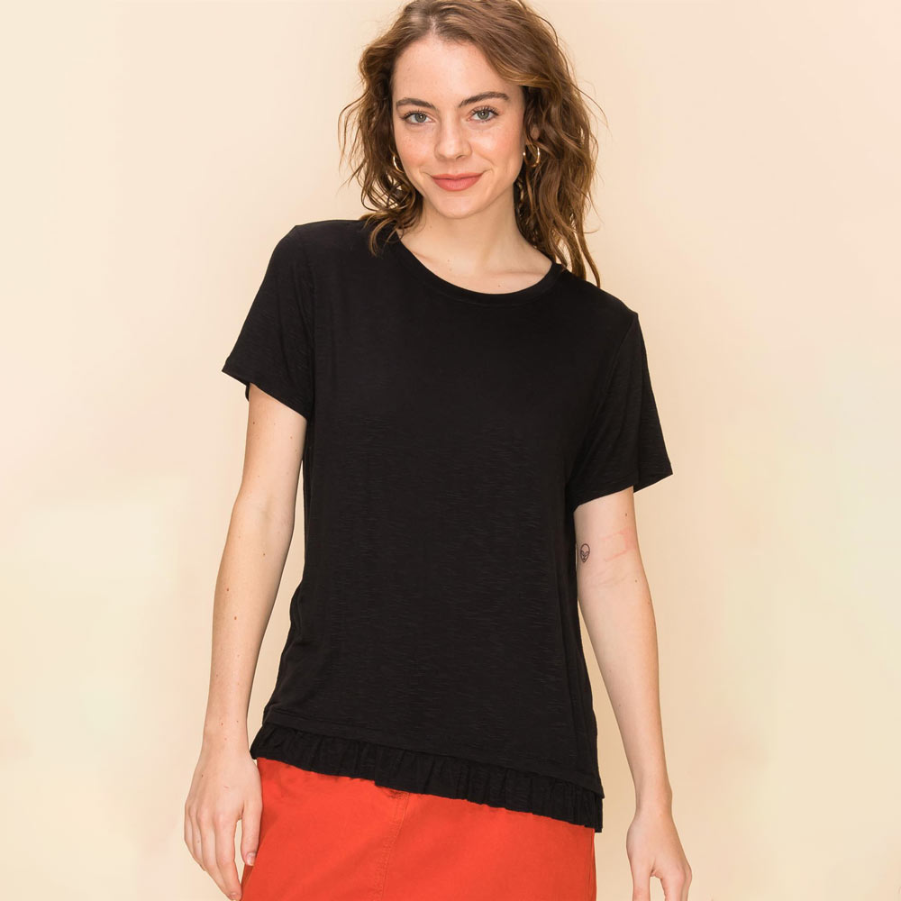 black round neck short sleeve top with ruffle hem