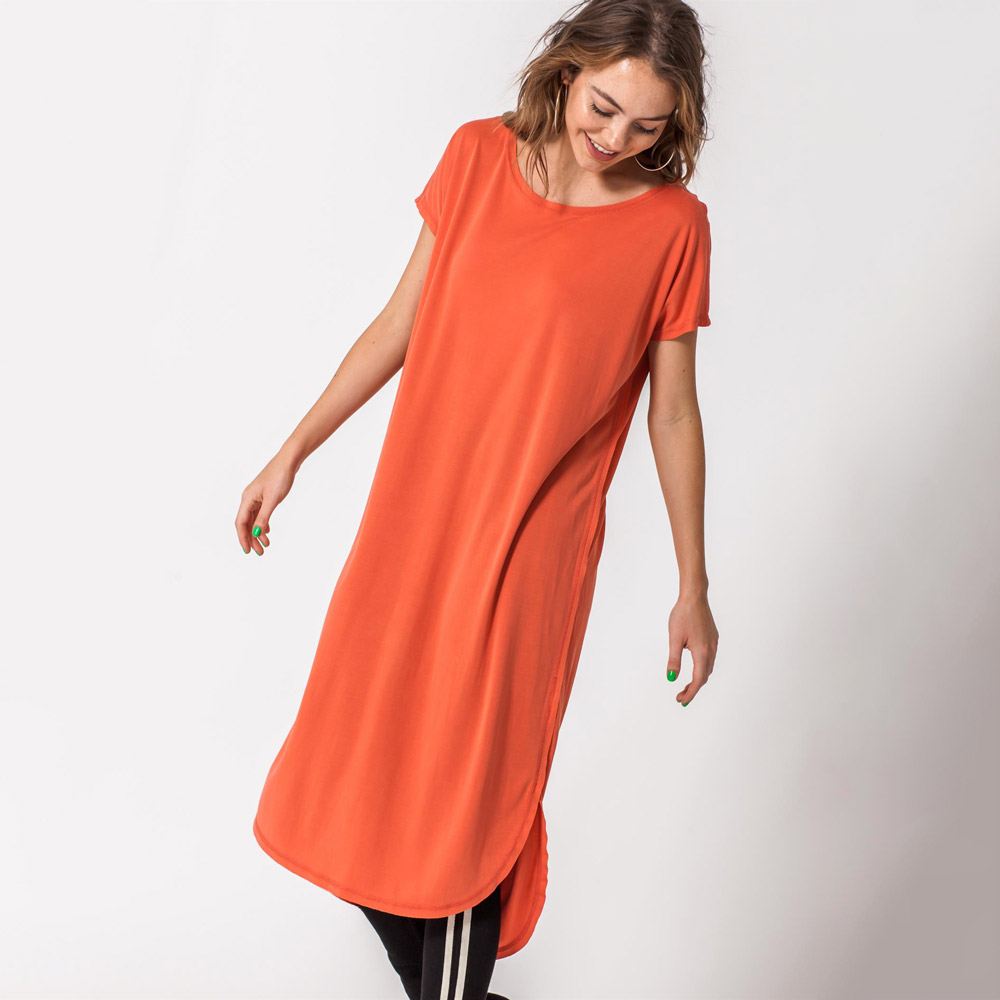 chili roundneck short sleeve mid calf t-shirt dress