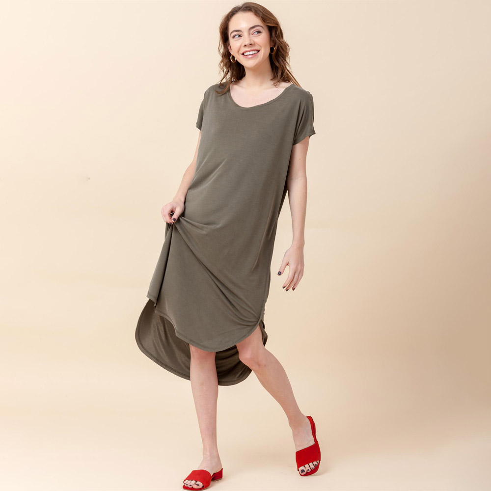 olive roundneck short sleeve mid calf t-shirt dress