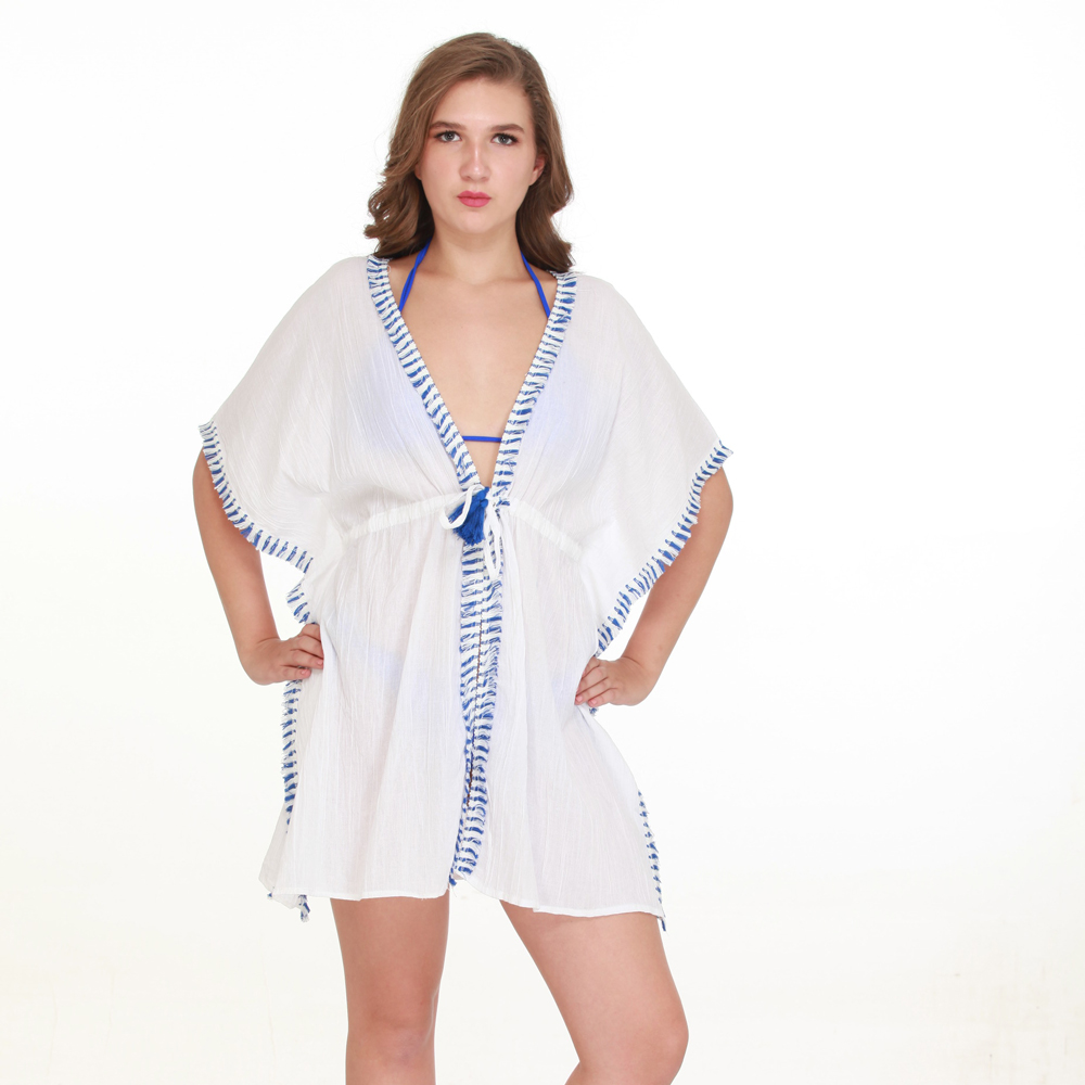 white/blue fringed tie wasted cover up one size