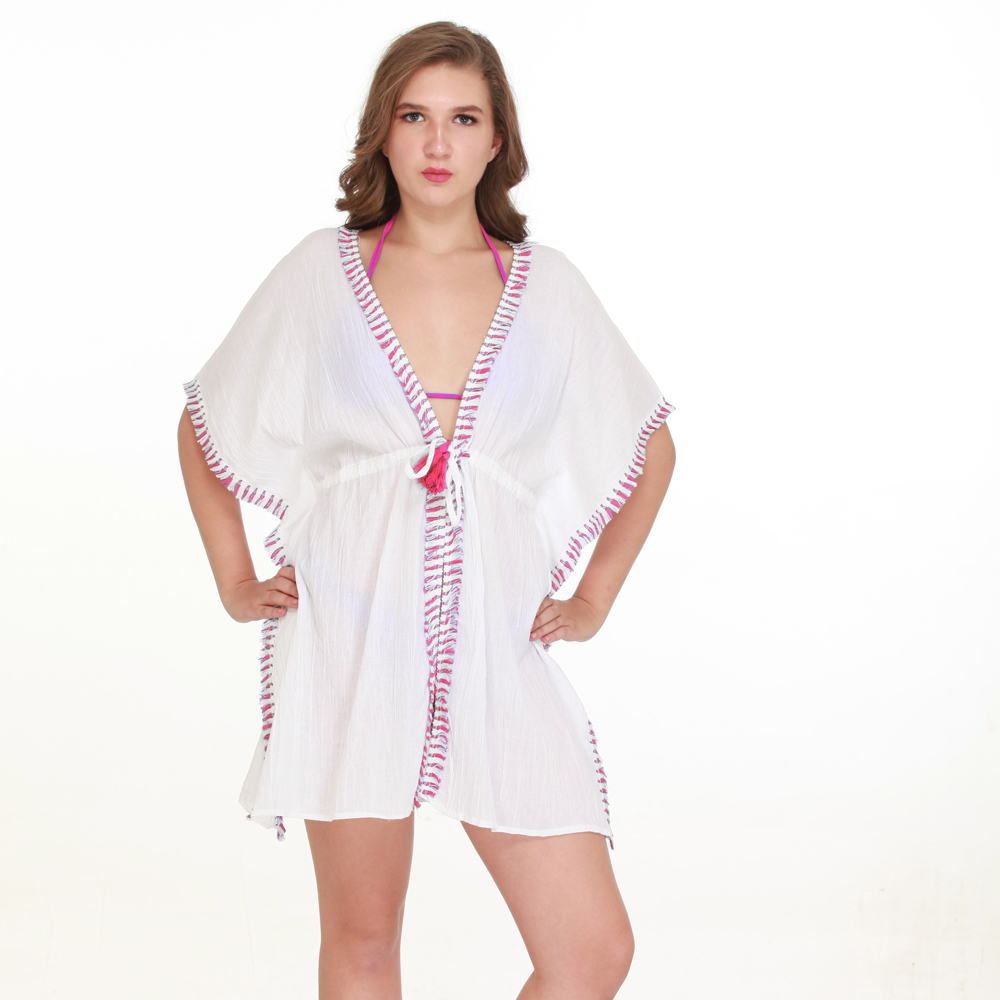 white/pinkfringed tie wasted cover up one size