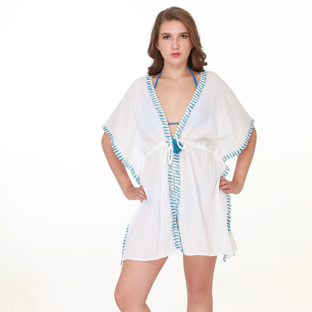 white/turq fringed tie wasted cover up one size