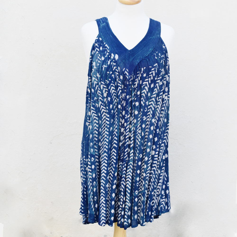 navy and teal short batik sundress