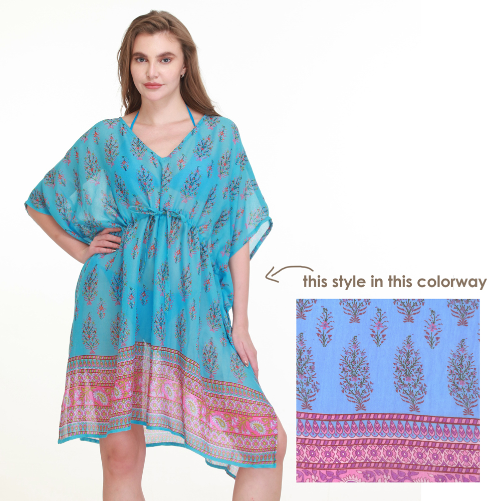 blue cotton printed cover up