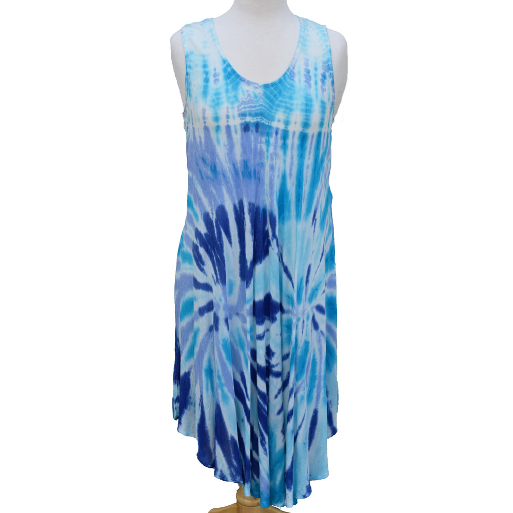 blue, aqua, and lavender tie -dye dress
