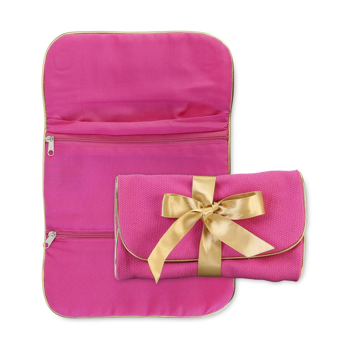 durry jewelry roll pink, gold trim
