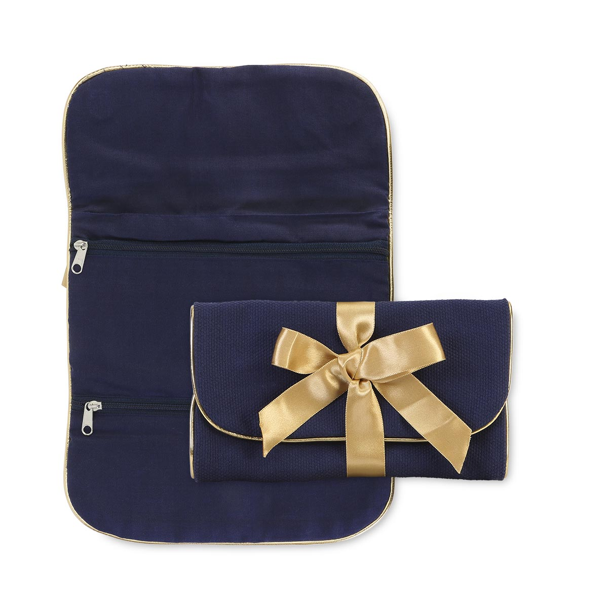 durry jewelry roll navy, gold trim