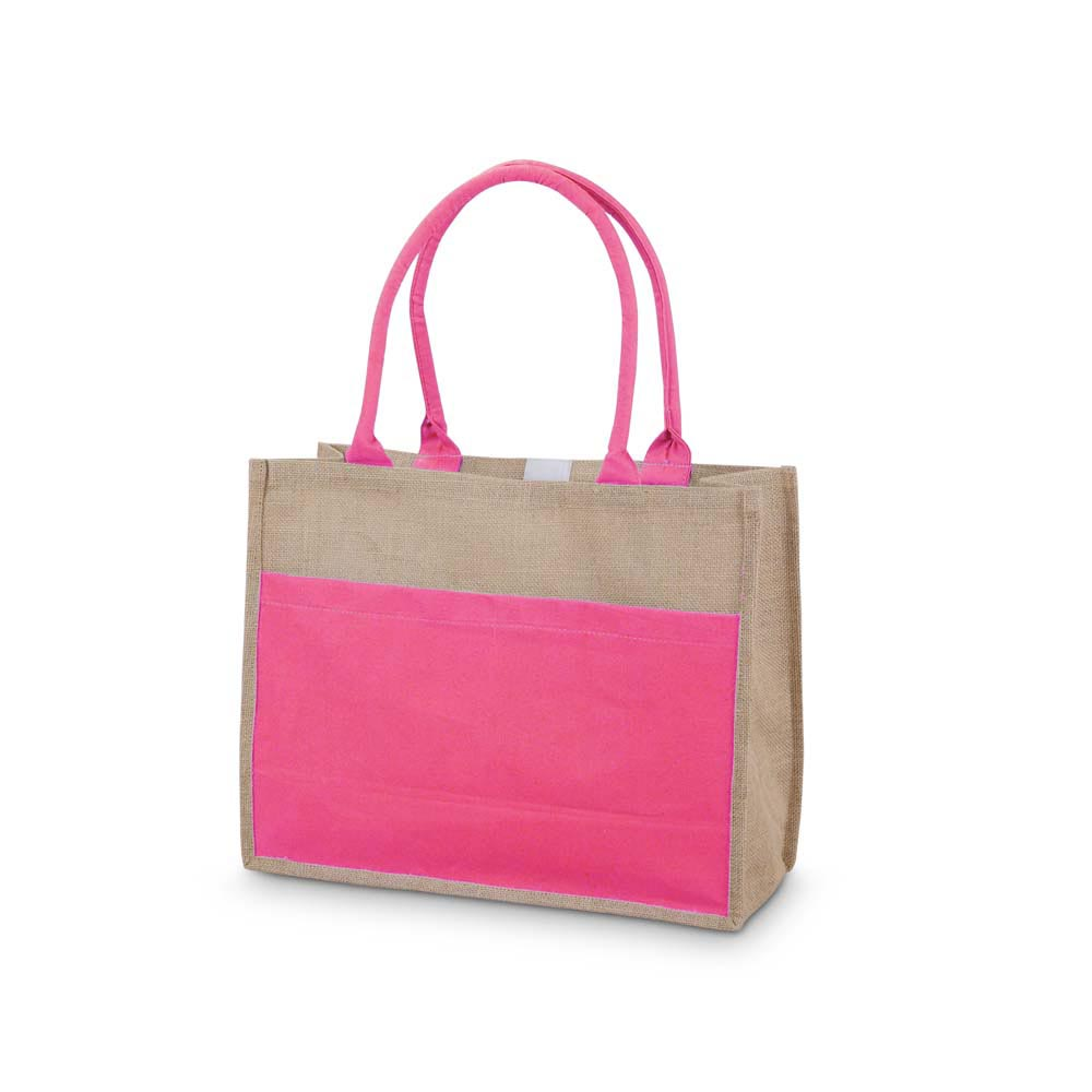 pink jute open tote with pocket