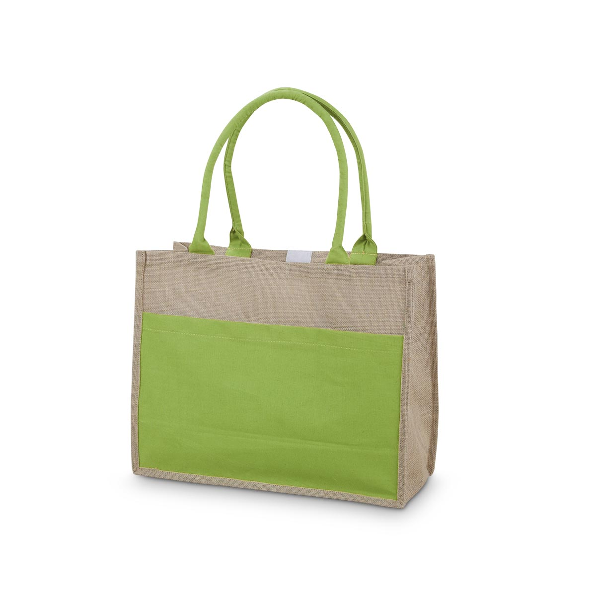 lime jute open tote with pocket
